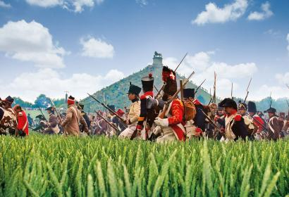 Troops by the Lion's Mound during the historical re-enactment of the Battle of Waterloo